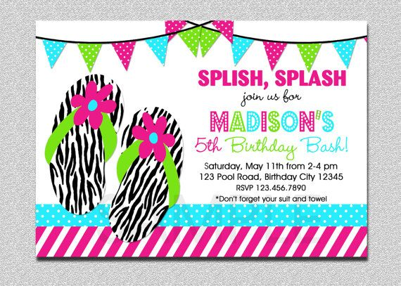 Splish Splash Pool Party Invitation 1st Birthday Pool Party Invitation Boys or Girls