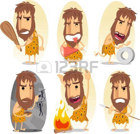 caveman cartoon action set Stock Vector