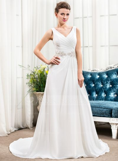 A-Line/Princess V-neck Court Train Chiffon Wedding Dress With Ruffle Beading Sequins (002056423)