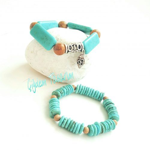 Two-Piece Bracelet Set with Turquoise Stones, Jasper Beads & Decorative Silver Charm. Chiki Design