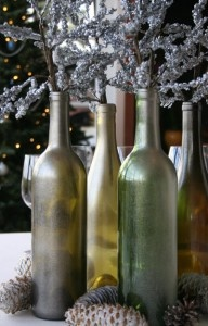 Winter Wine Bottle Decor :) Lovely...