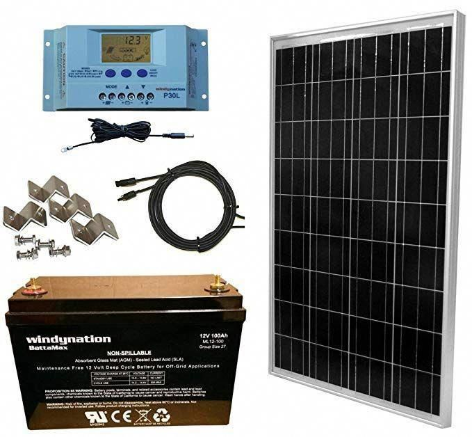 Windynation 100 Watt Solar Panel Complete Off Grid Rv Boat Kit With P30l Lcd Pwm Charge Controller Solar Cab Best Solar Panels Solar Panel System Solar Panels