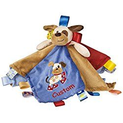Personalized Taggies Buddy Dog Character Blanket - 13.5 Inch - Red Embroidery, CUSTOM