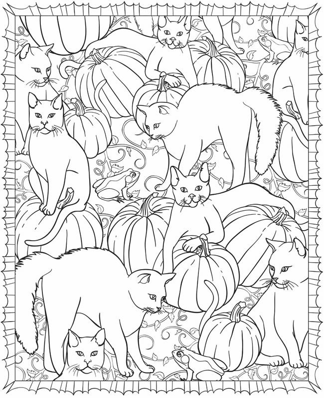 Cats and Pumpkins, a Halloween coloring page by Dover Publications