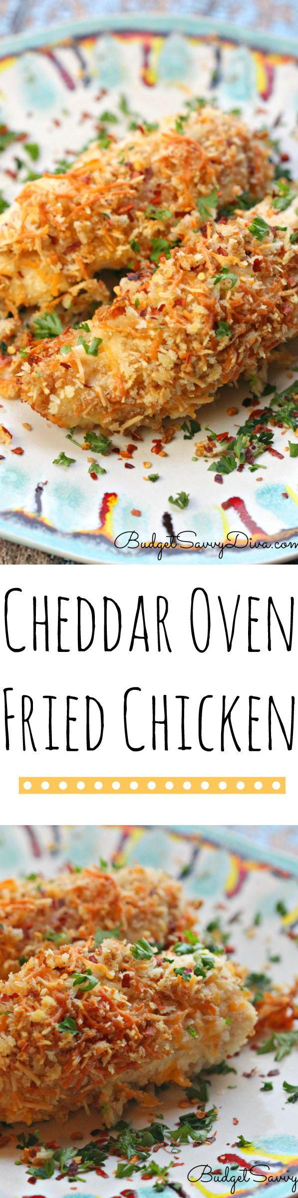 Cheddar Oven Fried Chicken Recipe - Easy weekday recipe. Works great with boneless chicken. The chicken is super crispy even though it is cooked in the oven