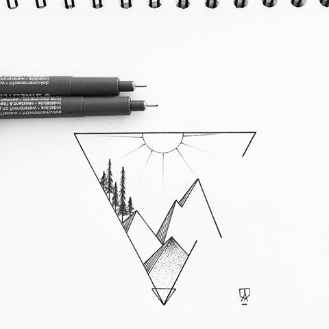 Minimalist. #illustrator #illustration #design #sketch #drawing #draw #mountain #mountains #landscape #geometry #sun #triangle #linework #dotwork #blackwork #blackworkers #art #artwork #artist #instaart #artistic #blackandwhite #instafollow #minimal #evasvartur #tattoo #tattoodesign