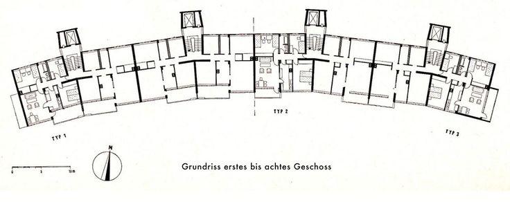 Planta tipa Händelallee 3-9, en Hansaviertel, por Walter Gropius, en Hansaviertel, Berlin, Alemania, 1957