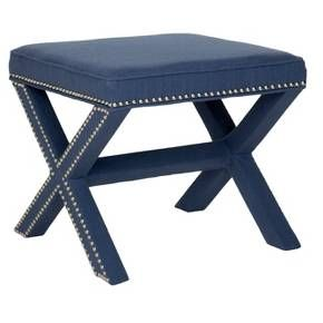 Whether you call it an X-bench or cross-bench, the Palmer Ottoman offers a designer look with all the trimmings. Its classic form complements any design style from contemporary to traditional, and its custom look comes from a sophisticated fabric blend of viscose, cotton and linen in navy. Detailed with nickel nail heads, the fully upholstered Palmer is ideal in pairs at the foot of the bed or in the living room, or use it alone as seating in a master bath.