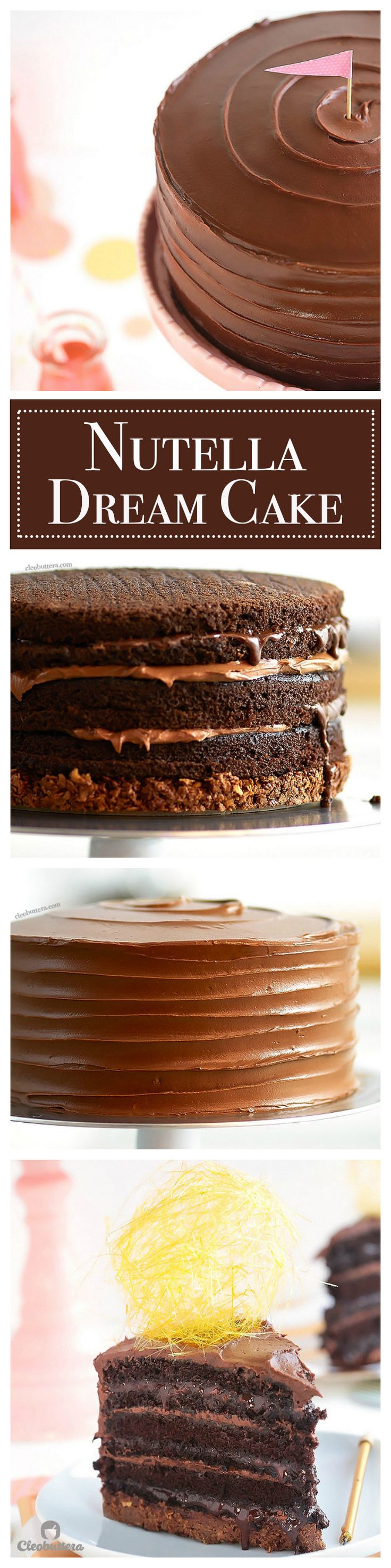 Hands down the ULTIMATE Nutella Cake!  With an embarrassing amount of Nutella between the frosting, sauce-y filling and crunchy bottom, this impossibly moist layer cake is a Nutella lover's dream come true!  {VIDEO of the making included!}