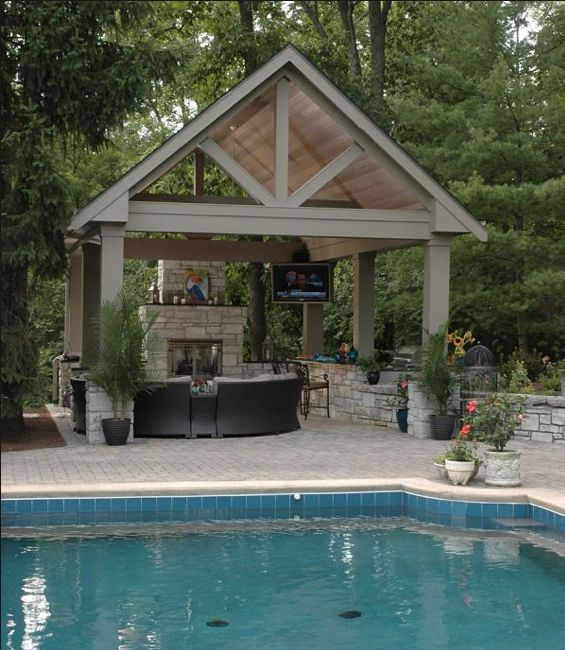 1000 images about backyard pavilions on pinterest pool for Pool with fireplace