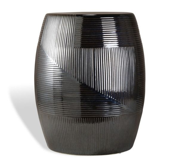 Magnus Ceramic Garden Stool Black Pearl