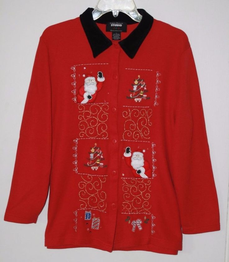 Designers Originals Studio Joy Red Christmas Cardigan Sweater Large Embellished  #DesignersOriginalsStudio #ChristmasSweater #Santa