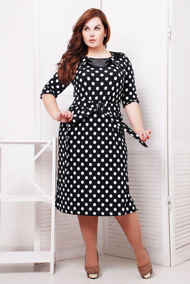 7e275b61c7a Платье в горошек для полных женщин (58 фото)  фасоны