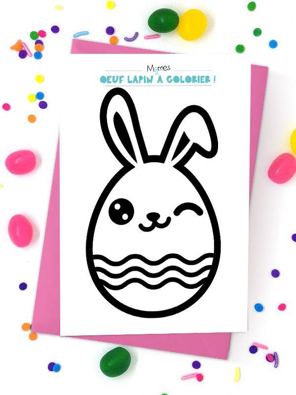 Oeuf lapin de Pâques à colorier