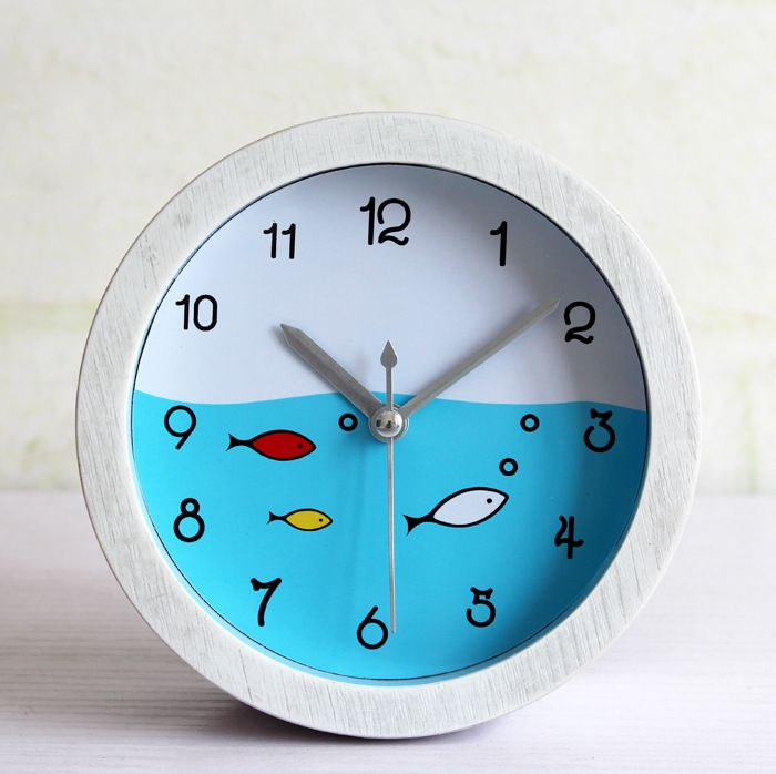 ==> [Free Shipping] Buy Best Fashion Originality Mediterranean Retro Garden White Wood Small Fish Alarm Clock Small Fish Seat Table Clock Online with LOWEST Price | 32812388166