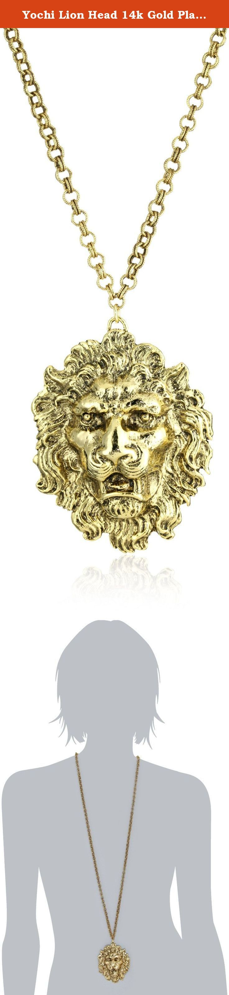 "Yochi Lion Head 14k Gold Plated Necklace. Raised lion design with distinct details. 14k Gold Plated. The lion is on a 36"" chain. Domestic."