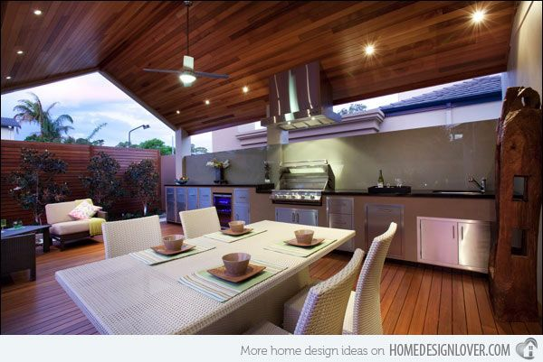 Outdoor Kitchen with Table and Chairs