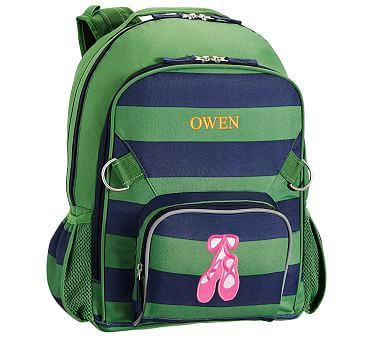 Large Backpack, Fairfax Green/Navy Stripe Ballet Shoes
