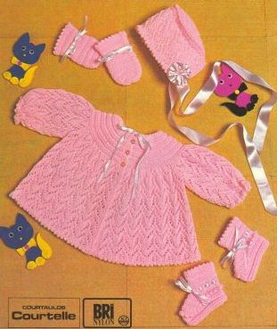 baby lacy matinee coat and bonnet vintage knitting pattern PDF instant download