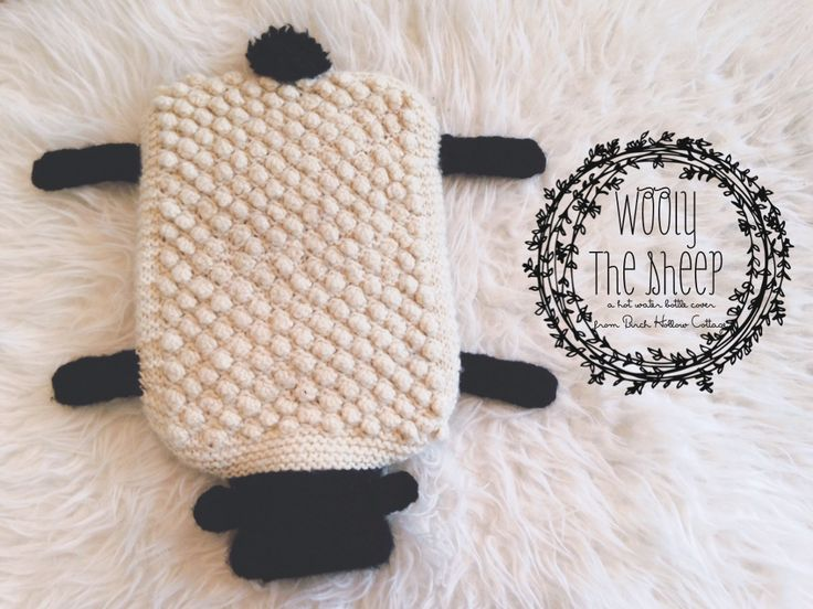 Looking for your next project? You're going to love Wooly the Sheep Hot Water Bottle Cover by designer BirchHollowGirl.