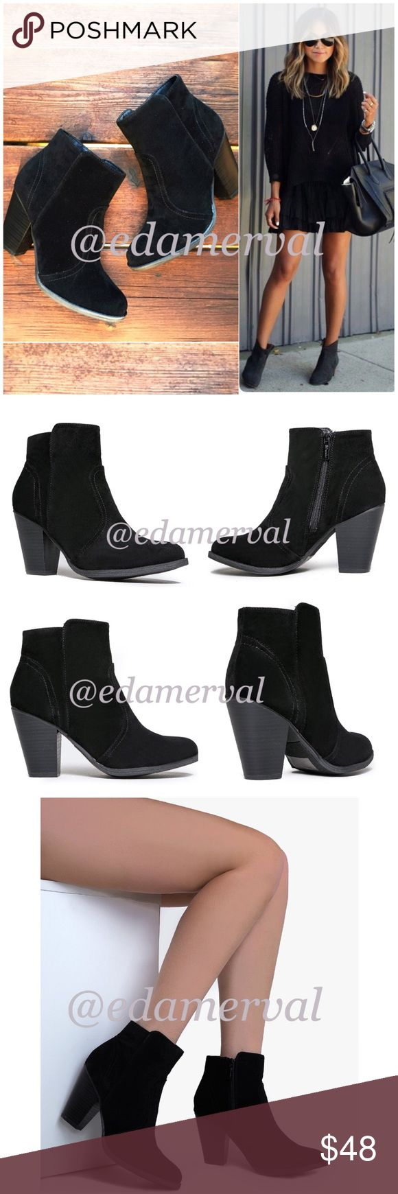"""LISTING! NIB Black Ankle Booties NIB Black Ankle Booties. Pair these beautiful booties with skinnies or a dress -- such a beautiful color for fall and winter! Features a wooden-style heel, decorative black stitching, and inner ankle zipper closure. Non-skid sole, cushioned footbed. Heel is approx 3.5"""", shaft is 7.5"""" height, opening circumference approx 10.5"""". Fits true to size, vegan suede. No Trades and No Paypal PRICE IS FIRM, but can discount in a bundle. Shoes Ankle Boots & Booties"""