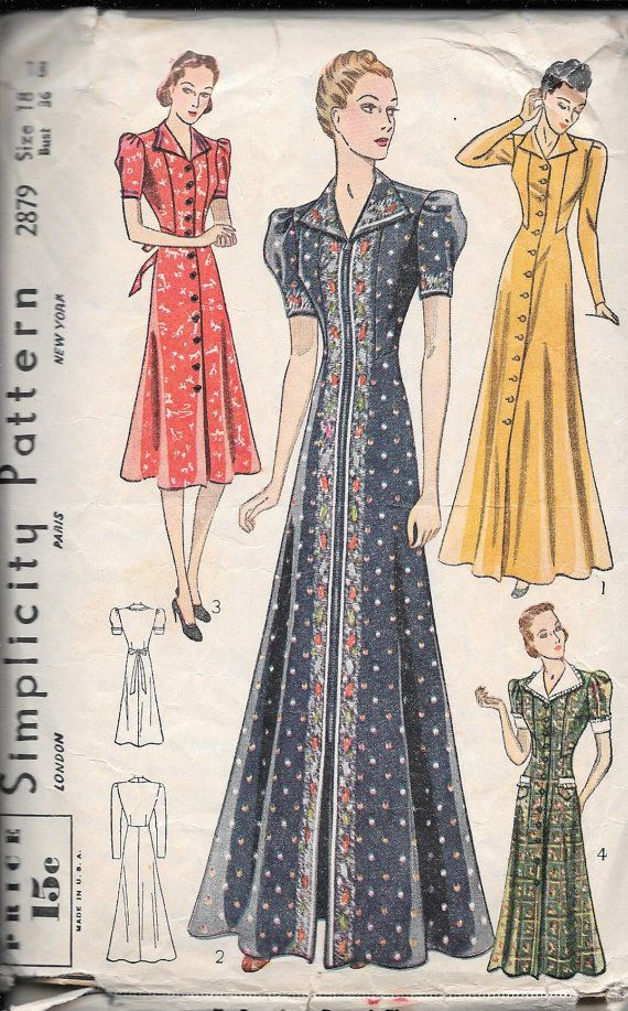 Vintage jaren 1930 eenvoud naaien patroon 2879 - missers jurk of Housecoat maat 18 buste 36