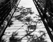 Black and White Image of a Wooden Bridge