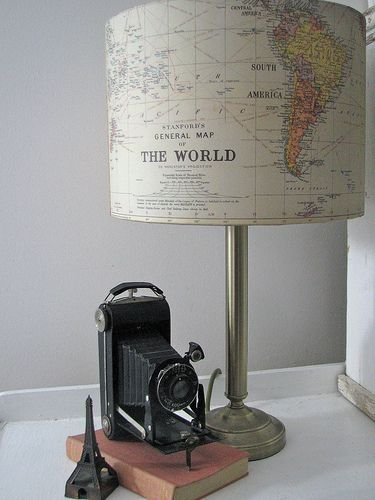 Cute! map Lamp! (projects, crafts, DIY, do it yourself, interior design, home decor, fun, creative, uses, use, ideas, inspiration, 3R's, reduce, reuse, recycle, used, upcycle, repurpose, handmade, homemade, light, travel, world, planet)