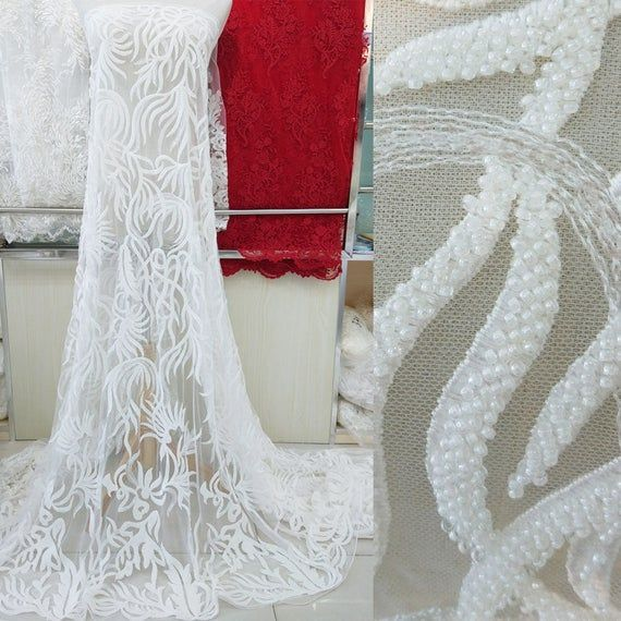 Off-White Sequined Beaded Lace Fabric By the yard Shimmery Embroidery Floral Lace Overlay for Bridal Gown