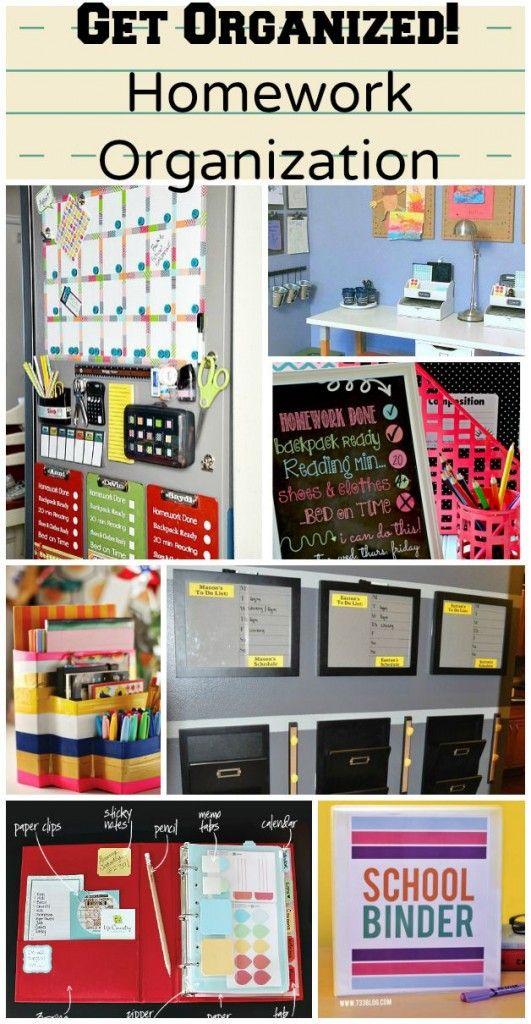 Homework Organization ideas. Great ideas for getting the school year started.