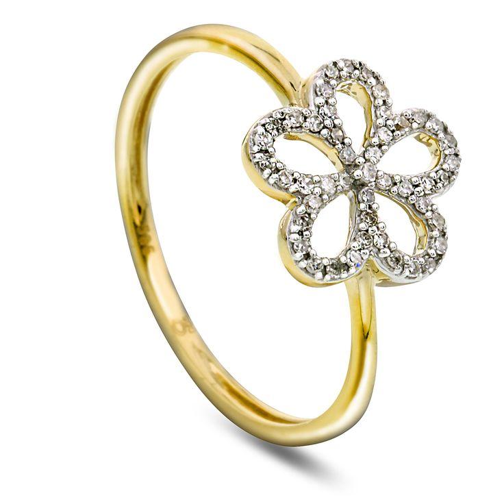 Ring i gull med diamant 0,12ct WP