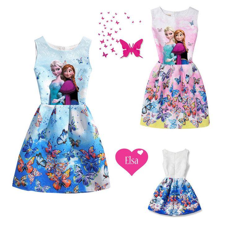Elsa Kleid Tunika Frozen die Eiskönigin Sommer Kleid Gr. 134 140