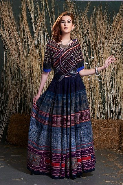 boho gypsy hmong indigo batik hemp skirt