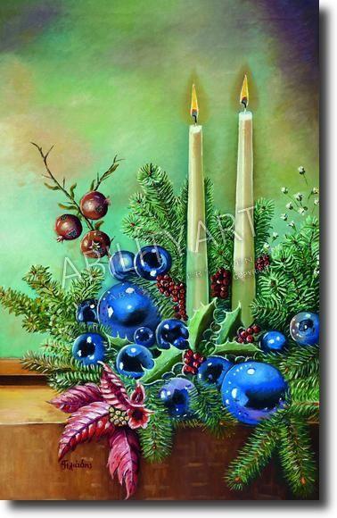 """Triantafillos Iliadis è originario della Grecia.  Ha creato l'opera """"Composizione natalizia"""", dipinta con l'utilizzo esclusivo della bocca.  La tecnica utilizzata è quella a olio; il formato originale è 48x31 cm."""