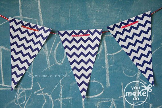 INSTANT DOWNLOAD navy chevron banner printables - birthday banner, baby shower banner, party printables, banners, chevron party, diy party