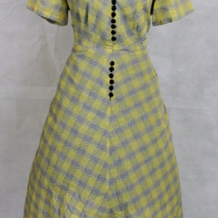 #4 Yellow Check Shirt Waist Dress on Velvet Rose's Pin Up Dressing Room - The vintage shop tailored to you #Vintagedress  #ChristmasPresent Free Postage within Australia