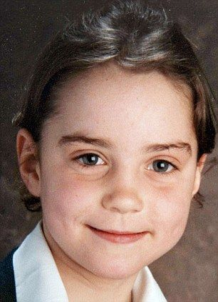 "Kate Middleton, aged five, in the UK in her school uniform. After her return from Amman, Kate was enrolled at St. Andrew's School near the village of Pangbourne in Berkshire, where Kate revealed she was nicknamed ""Squeak"" by her fellow pupils."