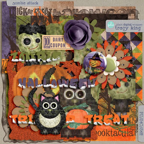 Atelier Tracy K.: Digital Scrapbooking Freebie - Zombie Attack Mini (for real this time)