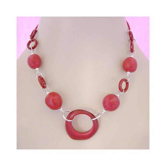 Tagua Jewelry  Red Stellar Rings Vegan by brizel4TheAnimals