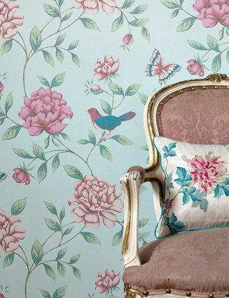 Monsoon Isabelle wallpaper - Feature wall with other walls white.