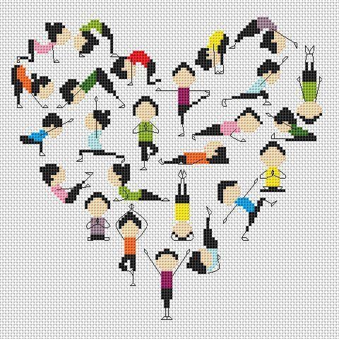 0 point de croix yoga - cross stitch yoga