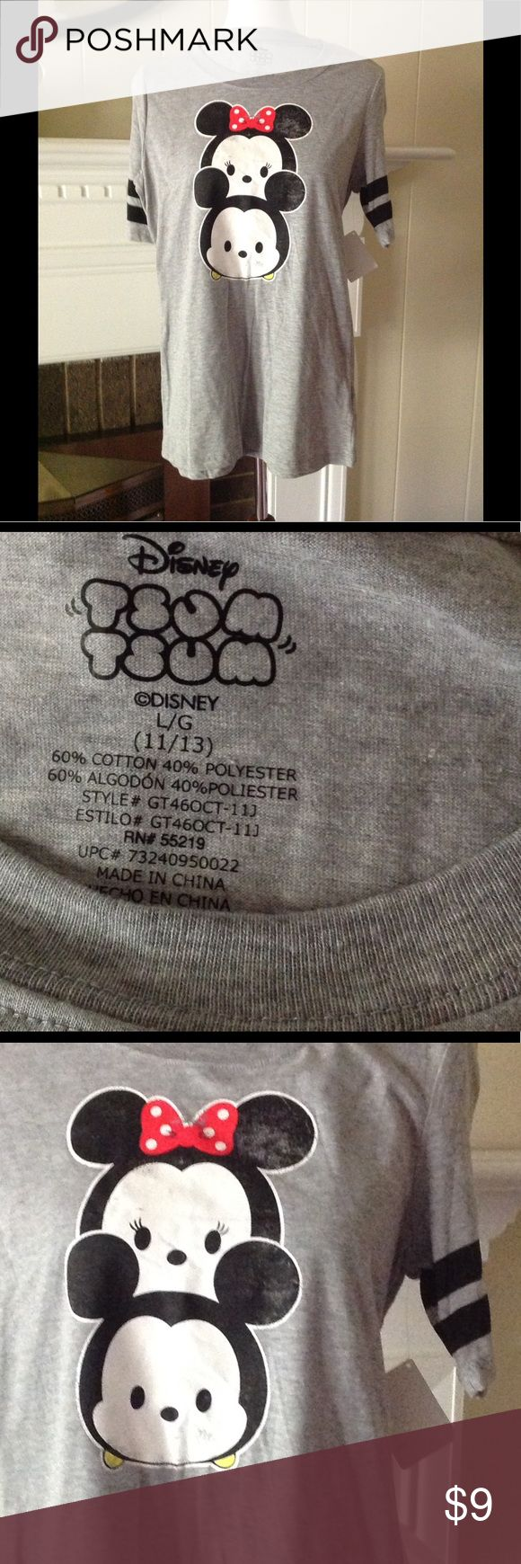"""Disney Minnie Mickey Tsum Tsum T Shirt Cute and soft Disney Tsum Tsum, heather gray tshirt size junior 11/13. New With Tags. Flat measurements: armpit to armpit 19"""", shoulder to hem 26.5"""". Please let me know if you have any questions. Disney Tops Tees - Short Sleeve"""