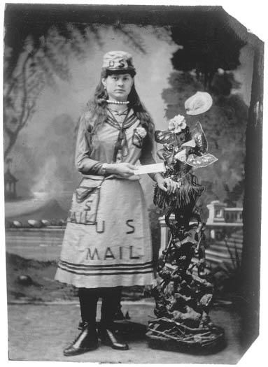 """1860, """"Mail Girl""""  **Note that her Outfit is Painted on, pre Postal Uniforms...  (via the Smithsonian Photographic Institute, Photographic History Collection)"""