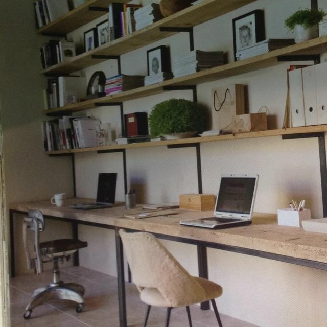 Biblioth que bois de coffrage d co bureau pinterest - Etagere de cuisine en bois ...