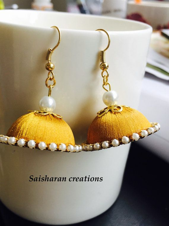 Silk Thread Jhumkas by papersandpassions on Etsy
