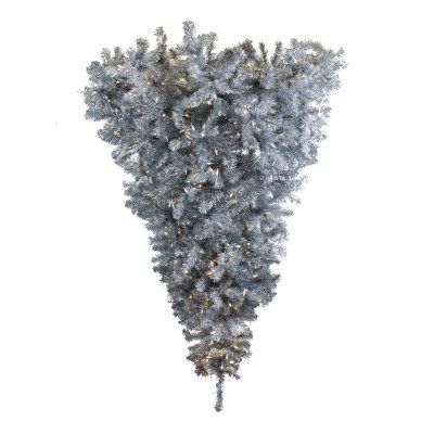 Vickerman 6 ft. Silver Pre-lit Half Upside-Down Christmas Tree ...