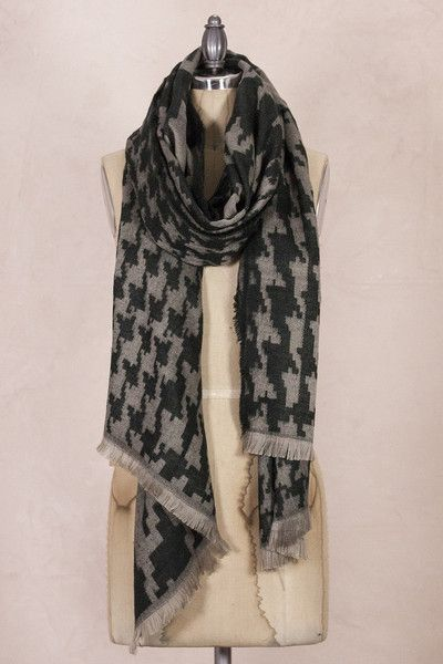 This warm fluffy and chunky houndstooth scarf will be sure to keep you looking good while keeping you cozy. Great colors, very Soft and comfortable all wrapped