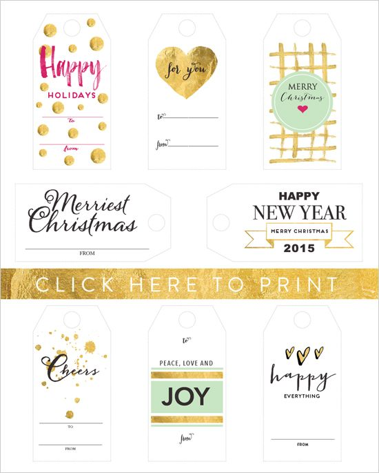 free printable holiday tagshttp://www.weddingchicks.com/2014/12/10/free-holiday-gift-tags/