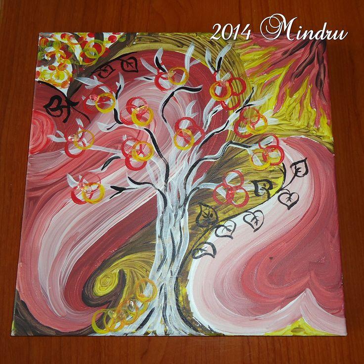 LOVE TREE - Acrylics and natrural gemstones on canvas