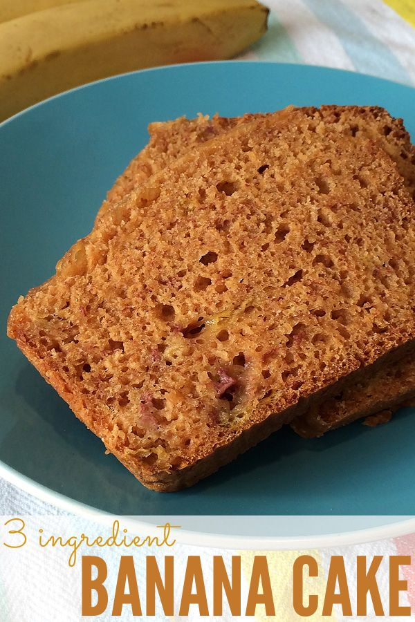 Just 3 ingredients! This banana cake is delicious, and so super moist.